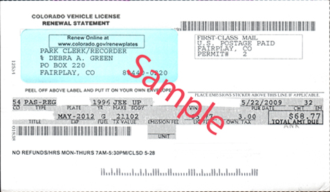 Vehicle registration renewal cards park county co for Motor vehicle department registration