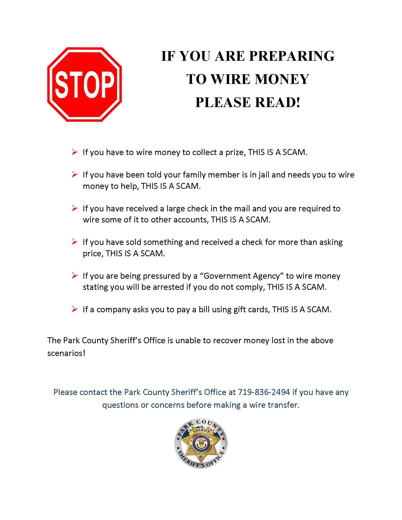 Park County Sheriff Warning - This is a SCAM