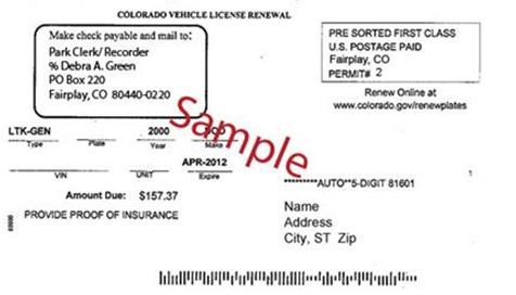 Vehicle registration renewal cards park county co for Ca department of motor vehicles registration